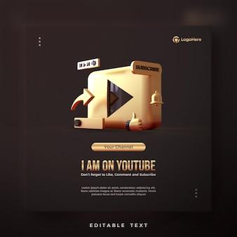 Social-media-beitrag zur einführung eines youtube-kontos mit 3d-render-illustrationen