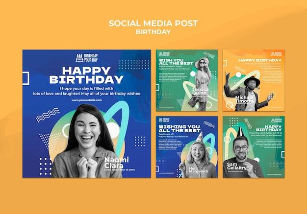 Social media-beitrag zur geburtstagsfeier