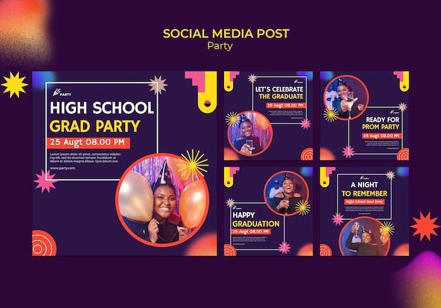 Social-media-beitrag zur high-school-absolventenparty