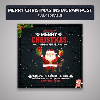 Social media-beitrags-fahnenschablone der frohen weihnachten