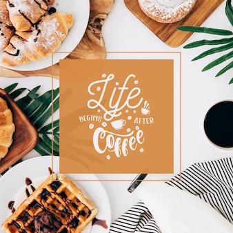 Social media-beitragsmodell mit kaffeekonzept