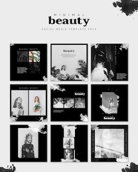 Social media-beitragsmodell mit schönheitskonzept