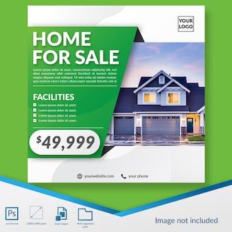 Social media-beitragsschablone der professionellen immobilienförderung