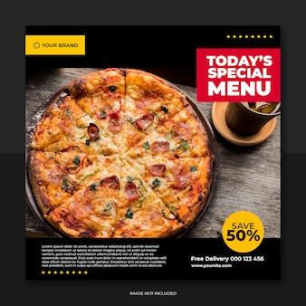 Social media-beitragsschablone der restaurantfahne und des lebensmittelmenüs