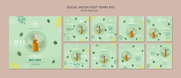 Social media-beitragsschablone des natürlichen öls