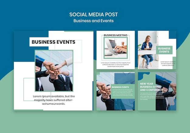 Social media-beitragsschablone für geschäftsereignis