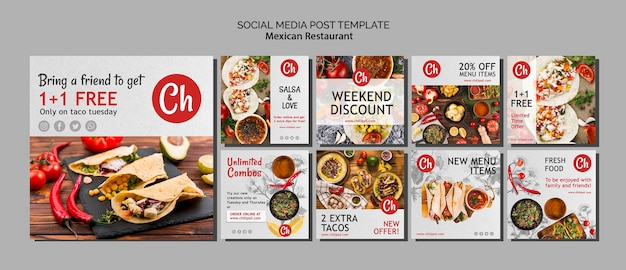 Social media-beitragsschablone für mexikanisches restaurant