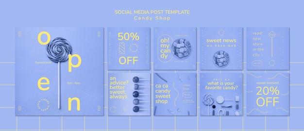 Social media-beitragsschablone für süßwarenladen