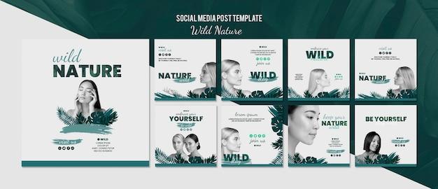Social media-beitragsschablone mit wildem naturkonzept