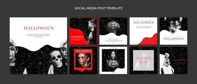 Social media-beitragsschablonenzusammenstellung für halloween