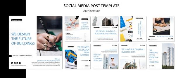 Social media-beitragsvorlage des architekturkonzepts