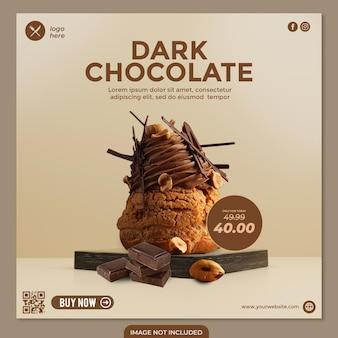 Social-media-beitragsvorlage für dunkle schokoladenkuchen für werberestaurant