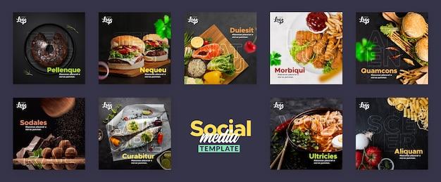Social media beitragsvorlage für restaurant