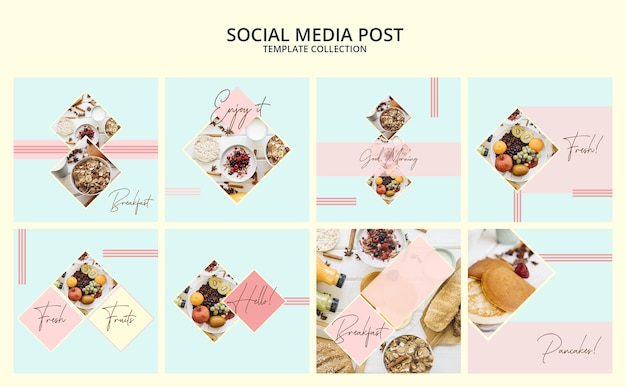 Social media-beitragsvorlagensammlung mit frühstückskonzept