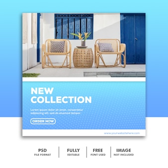 Social media-fahnen-schablone, möbel-luxusblau
