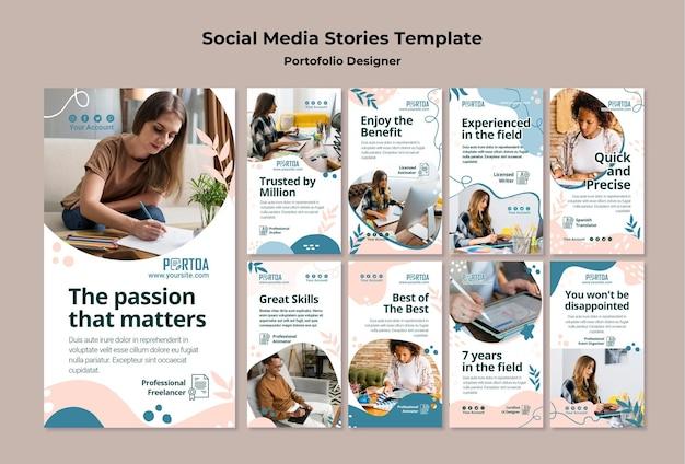 Social-media-geschichten des designer-portfolios