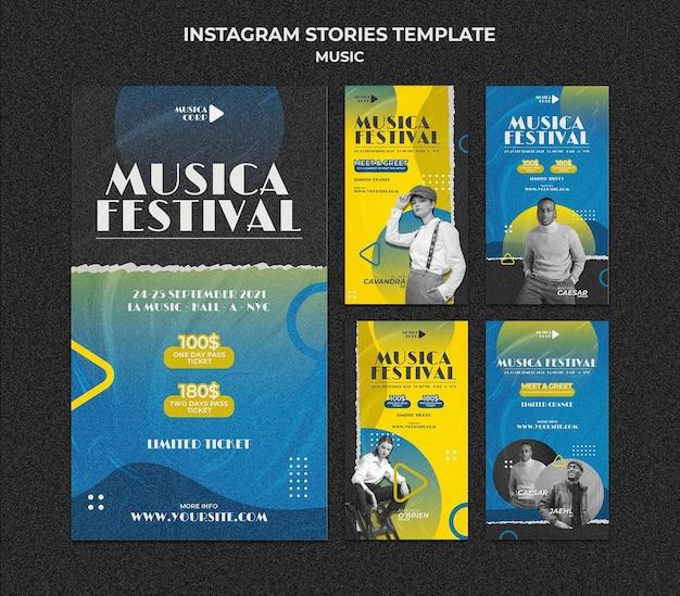 Social-media-geschichten des musikfestivals