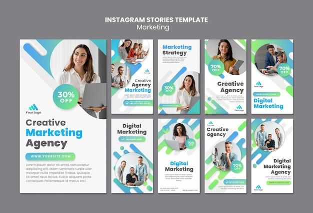 Social media-geschichten für digitales marketing
