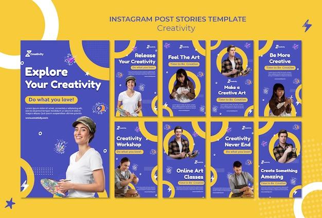 Social-media-geschichten im online-kunstunterricht