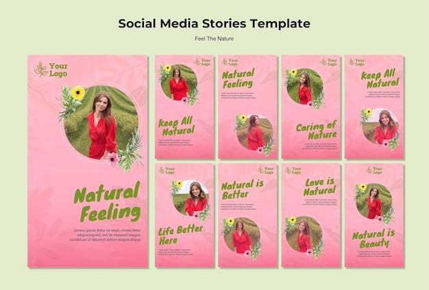 Social media-geschichten mit natürlichem gefühl