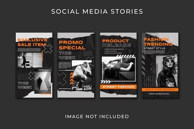 Social-media-geschichten setzen vorlage für urbanen modestil