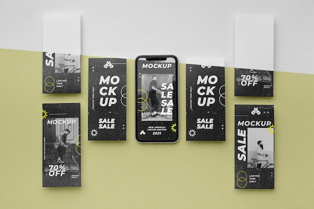 Social-media-geschichten und smartphone-mock-up