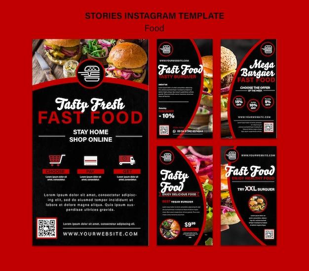 Social-media-geschichten von fastfood