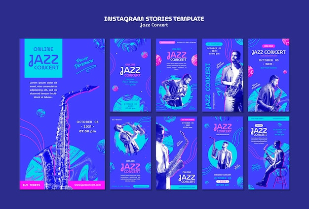 Social-media-geschichten von jazzkonzerten