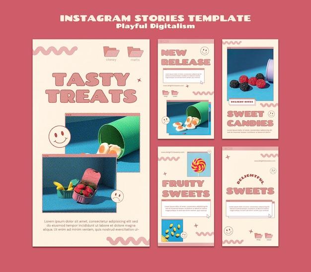 Social-media-geschichten von süßigkeitengeschäften