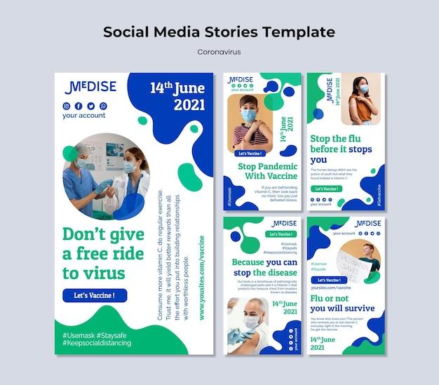 Social-media-geschichten zum coronavirus-impfstoff