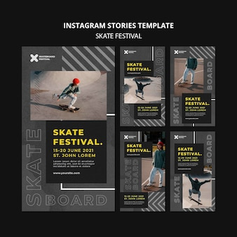 Social-media-geschichten zum skate-festival