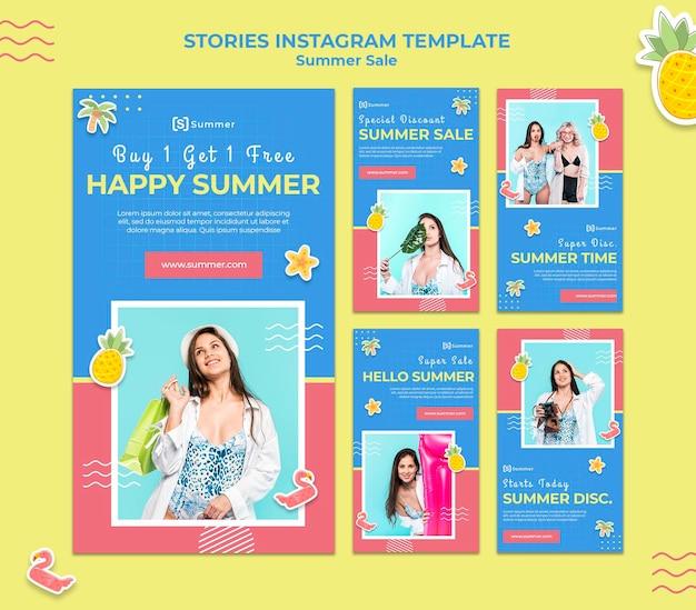Social-media-geschichten zum sommerverkauf