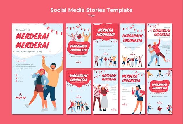 Social-media-geschichten zum unabhängigkeitstag in indonesien