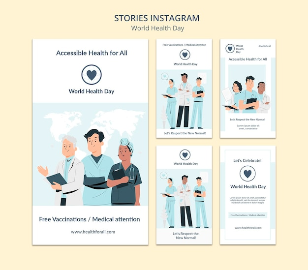 Social-media-geschichten zum weltgesundheitstag