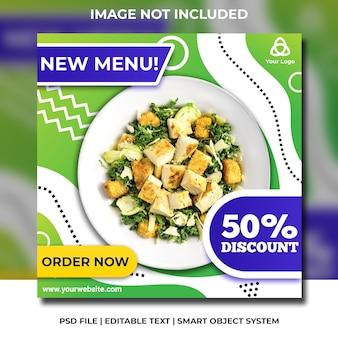 Social media gesunder lebensmittelsalat greend und blaue schablone