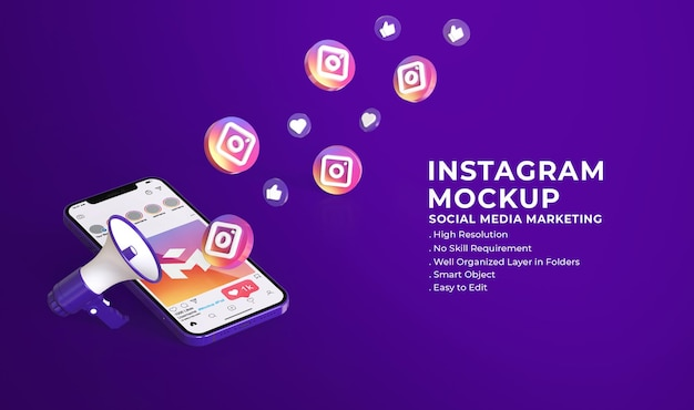 Social media instagram 3d-modell mit social media-marketingkonzept
