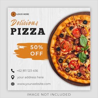 Social media instagram beitrags-fahnenschablone der pizzalebensmittelmenü-förderung