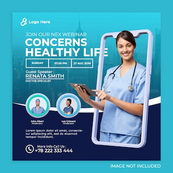 Social-media-instagram-post-vorlage für medizinisches gesundheitswesen-banner