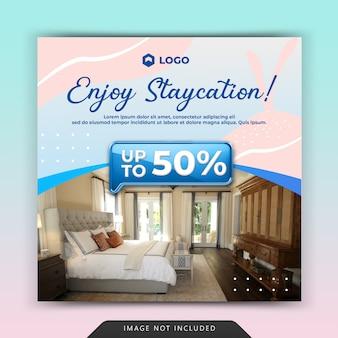 Social media instagram post vorlage für staycation hotel und gästehaus