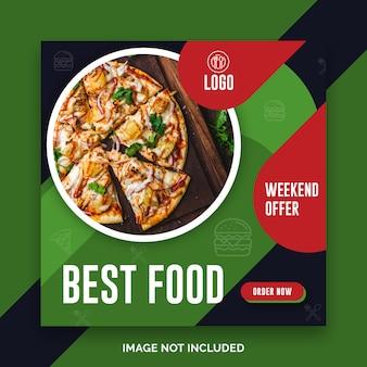 Social media-lebensmittel instagram beitragsrestaurantschablone