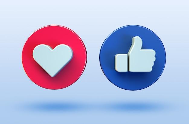 Social media lieben und mögen minimalistische 3d-schaltflächensymbole