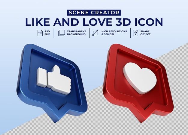 Social media like und love minimalistisches 3d-button-symbol-abzeichen