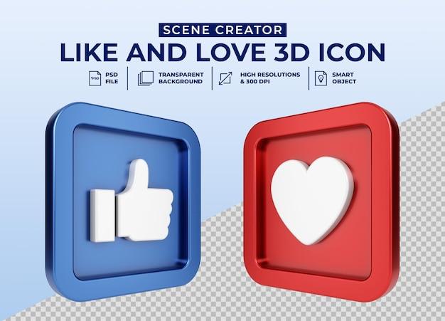 Social media like und love minimalistisches 3d-button-symbol für den szenenersteller