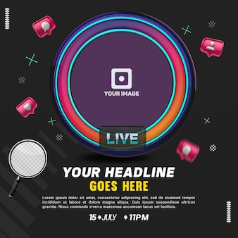 Social media live-avatar-symbol mit neon für komposition