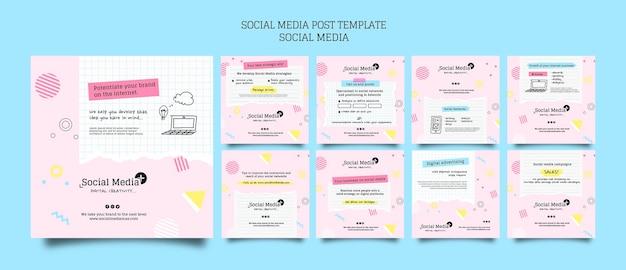 Social media-marketing-agentur vorlage für das design von social media-posts