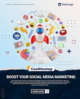 Social media marketing instagram porträt post mit 3d-cartoon-illustration