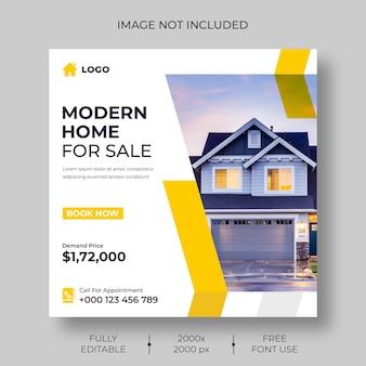 Social media- oder instagram-postvorlage für immobilien real