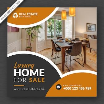 Social-media-post-banner für das immobiliengeschäft und design-vorlagendesign für quadratische flyer