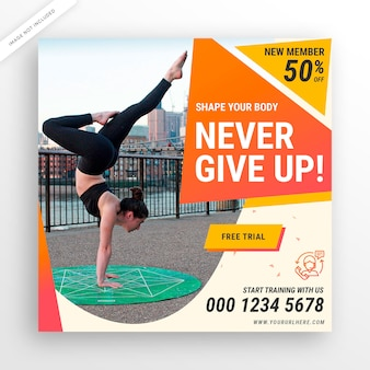 Social-media-post-banner oder quadratischer flyer des fitnessstudios
