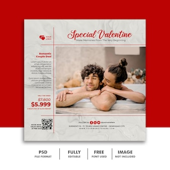 Social media post banner vorlage für valentine paar